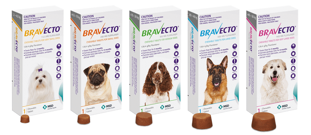 Bravecto Tick Protection Tablet Sizes