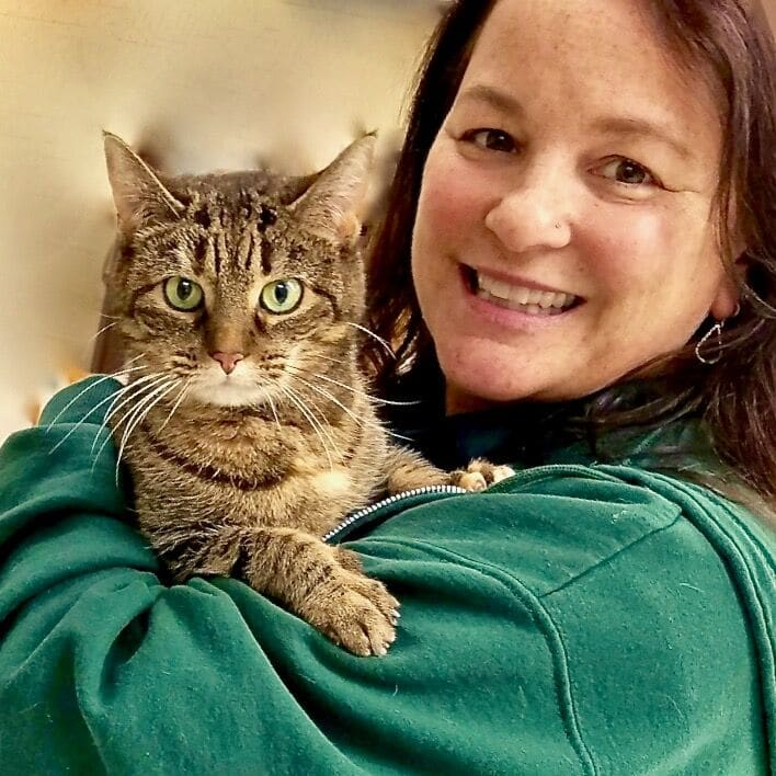Vet Tech Janine with one of our hospital cats
