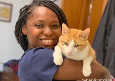 Ayanna, with one of our hospital cats, Tyler