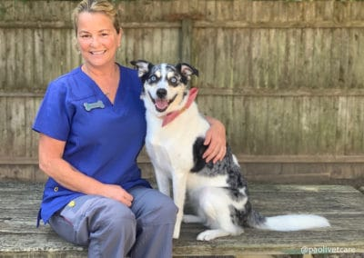 Veterinary Nurse, Janine with a Dog