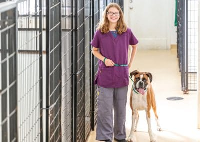 Katie walks dog in boarding kennel